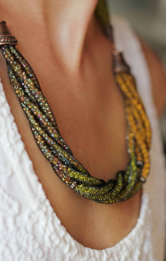 Yellow necklace Ombre Necklace Statement Necklace Necklace in nylon mesh tube  Seed bead necklace Mesh jewelry Beaded necklace Sparkling