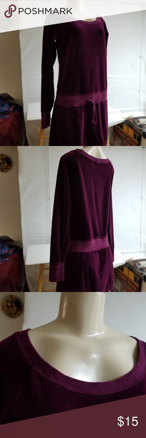 JUICY Cotton Velvet Scoopneck Casual Dress Purple Pre-owned Cotton soft velvet scoop-neck short dress with drawstring low waist. Rick burgundy wine color. Washable. Super comfortable. Juicy Couture Dresses Mini