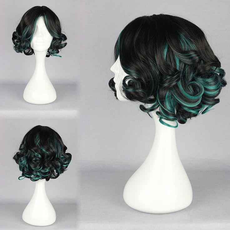 Black Green Wig Short Curly Wavy Harajuku Style Hair Cosplay Party Anime New Wig #Dayiss #FullWig
