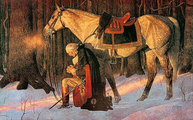 """The Prayer at Valley Forge"" by Arnold Friberg is one of the best known paintings of the American Revolution. It depicts George Washington at Valley Forge, Pennsylvania in prayer on his knees beside his horse Nelson at the Continental Army's encampment, during the terrible winter of 1777-1778."