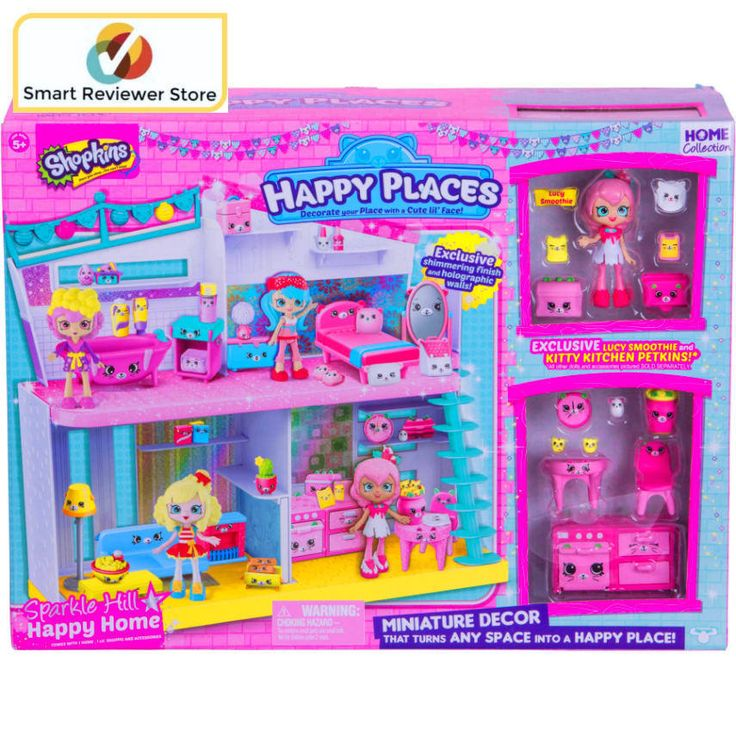 Shopkins Happy Places Sparkle Hill Happy Home Cute Girls Style Toys Doll Gift Shopkins Happy Places Sparkle Hill Happy Home Toys Dolls Dollhouses Dollhouses Play SetsShopkins Happy Places Sparkle Hill Happy Home:Age range: 5 years and up2-story playsetFeatures furnishings with cute facesIncludes exclusive shimmering finish and holographic walls, 1 exclusive Lucy Smoothie Lil' Shoppie, 1 large Petkin, 2 medium Petkins, 4 small Petkins and 6 mini Petkins.   eBay!