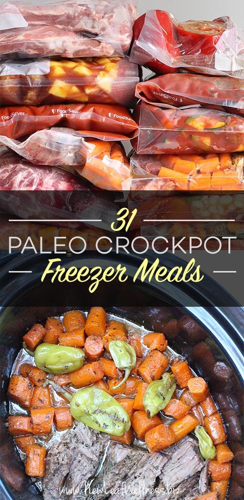 Kelly from New Leaf Wellness has a great list of 31 Paleo Crockpot Freezer Meals. Her free download includes grocery lists and recipes for all of the meals.