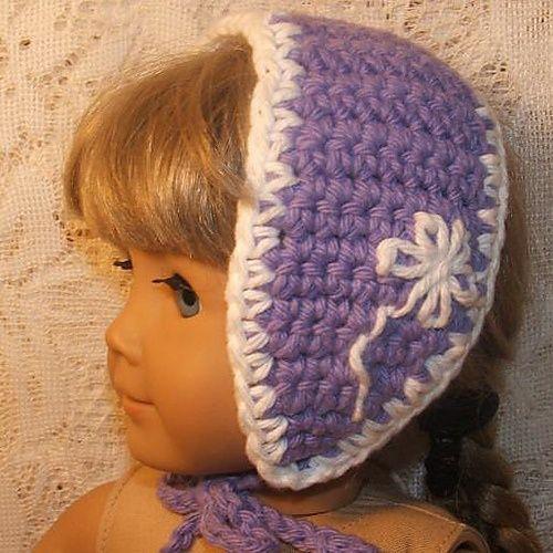 cute little headband hat for american girl doll (free pattern @ ravelry).
