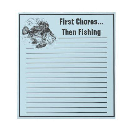 Funny Fishermans John Dory Chore To Do List Notepad - home gifts ideas decor special unique custom individual customized individualized