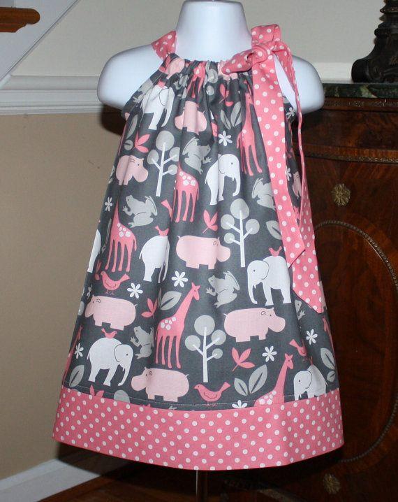 Adorable vestido con estampados de animales en rosa y gris, hermoso