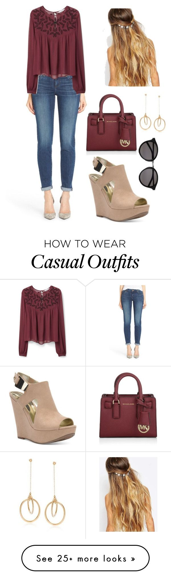 """Casual"" by aowens99 on Polyvore featuring KUT from the Kloth, MANGO, Johnny Loves Rosie, Carlos by Carlos Santana, Yves Saint Laurent, Michael Kors, Ross-Simons, women's clothing, women and female"