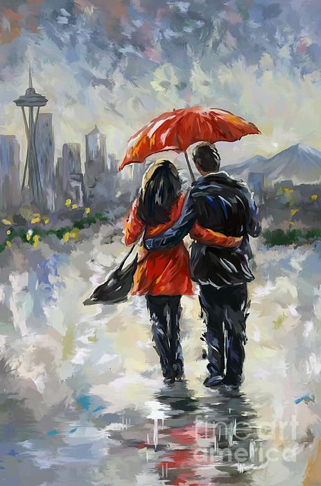Couple In Love Walking In The Rain In Seattle By Tim
