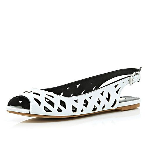 White cut out sling back sandals - pumps / slippers - shoes / boots - women