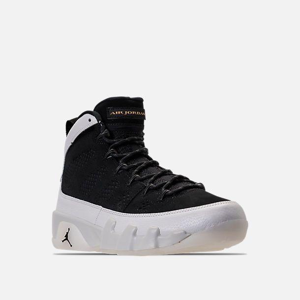 Three Quarter view of Men's Air Jordan 9 Retro Basketball Shoes in Black/Summit White/Metallic Gold