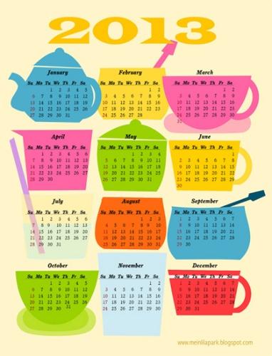 "Creative: Eleven Cute Printables  (via ""Coffee break"": free printable 2013 calendar at MeinLilaPark)"