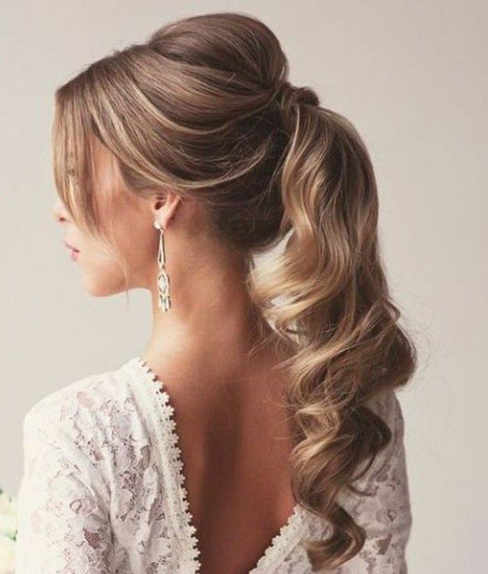 white lace dress, blonde hair, in a high wavy ponytail, wedding hairstyles updo, hanging earrings