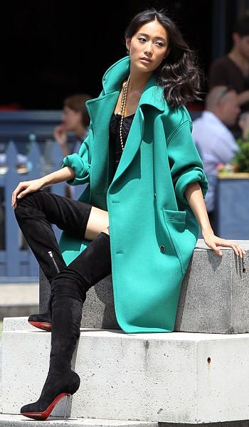 Chinese supermodel Shu Pei Qin, dressed in sexy lingerie, thigh high Chrisitian Louboutin boots, and a fall green coat, poses for an editorial photoshoot in the Meatpacking District in New York.