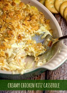 Creamy Chicken Ritz Casserole I used half a stick of butter in the chicken mix. And also put crackers on the bottom. Wonderful.