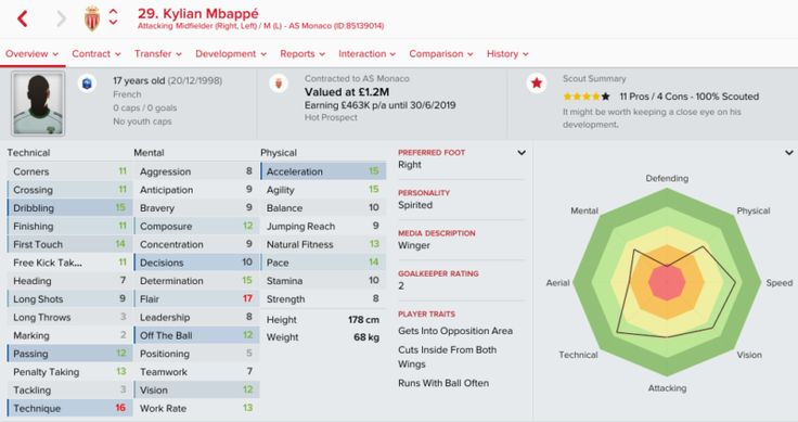 FM 2017 Player Profile of Kylian Mbappe • Best FM 2017 Players