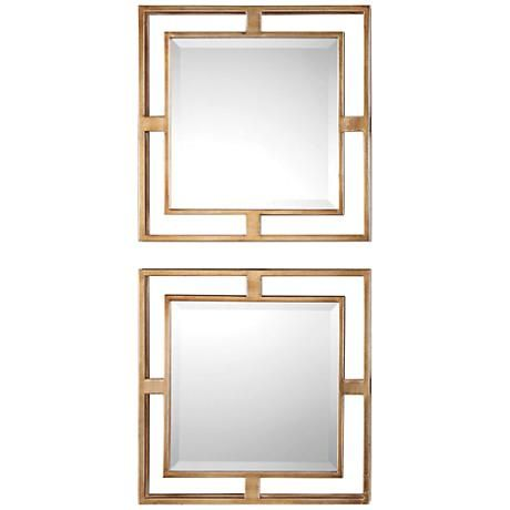 "Allick Antiqued Gold Leaf 18"" Square Wall Mirror Set of 2"