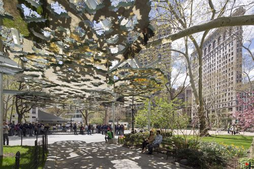 Teresita Fernandez FATA MORGANA On view June 1, 2015 through winter 2015-16 Madison Square Park. Fata Morgana, a 500-foot-long sculpture in six sections installed horizontally above park visitors, will be Mad. Sq. Art's most ambitious commissioned outdoor sculpture - See more at: http://www.madisonsquarepark.org/things-to-do/calendar/mad-sq-art-teresita-fernandez#sthash.DsQ6th3B.dpuf