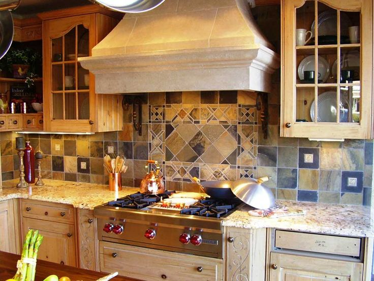 Mosaic Tile For Kitchen Ideas with wooden cupboard