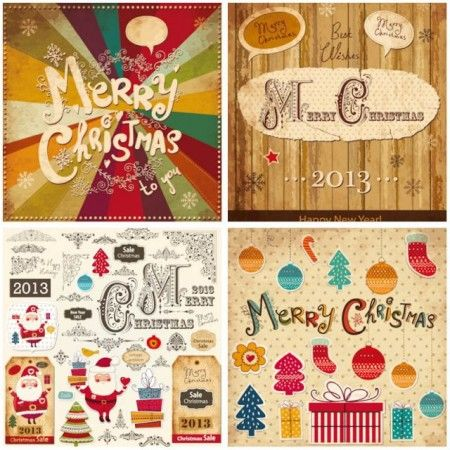 Superior 4 Sets Of Vector Decorative Vintage Style Christmas Decoration Elements And  Retro Style Merry Christmas Greeting Cards, Set Includes Beautiful Christmas