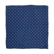 Polka Dot Pocket Square Silk Handkerchief in Blue & White. Pocket Square Silk Handkerchiefs from Aspinal of London