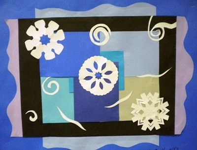 """Matisse Winter Collage. Create an abstract background using squares of cool colored construction paper. Encourage overlap. Add a square frame of black with organic shaped extensions (in a cool tint). Add geometrically shaped 'snowflakes"""" and organic shapes to represent wind."""