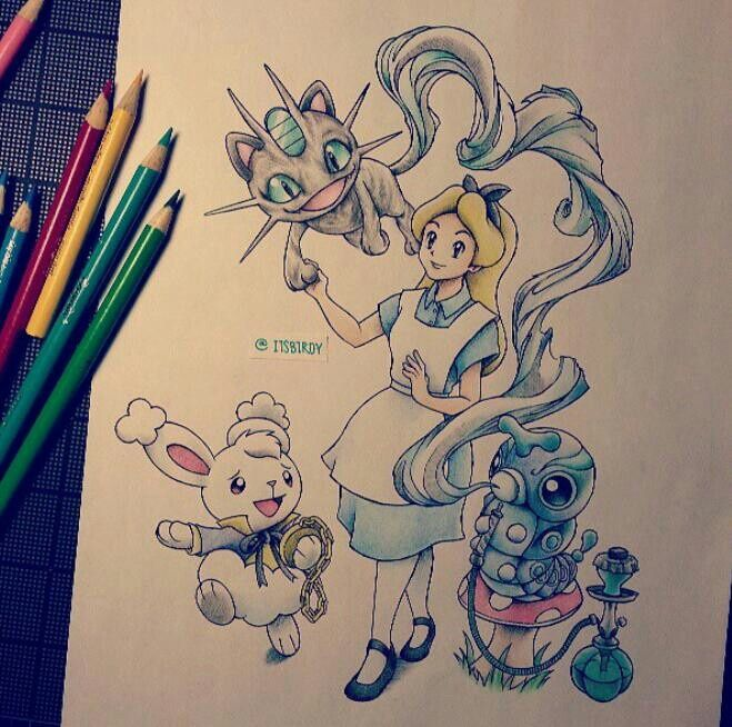 Alice in wonderland/Pokemon crossover by itsbirdy on Instagram