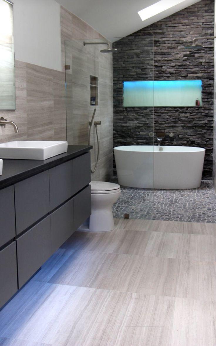 Lighting in shower shelf and under vanity