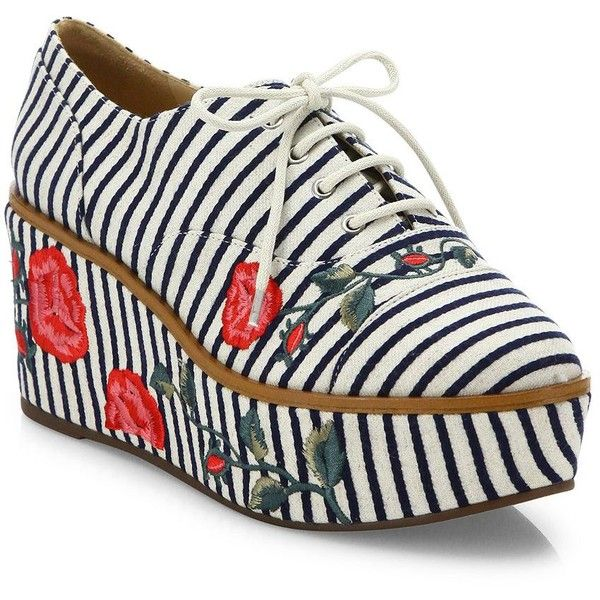 Schutz Mila-Grace Striped & Embroidered Leather Trimmed Oxfords ($220) ❤  liked on