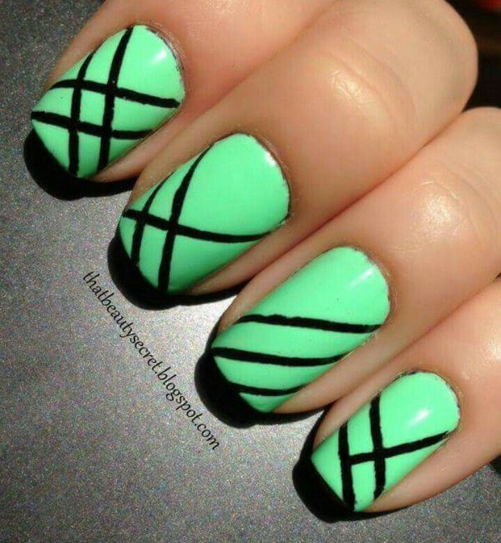 54 best nail art step by step images on pinterest nail scissors green black nails prinsesfo Gallery