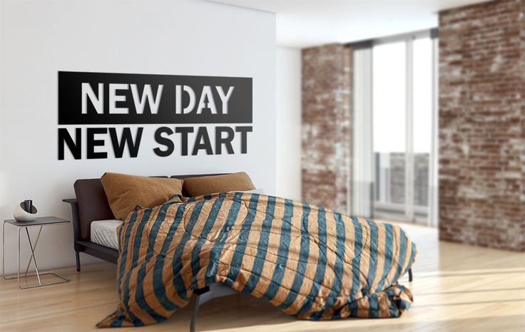 NEW DAY, NEW START ! Motywacja na dobry początek każdego dnia :) #nowoczesna #dekoracja #na #ścianę #do #domu #napis #3D #motywacja #sentencja #modern #design