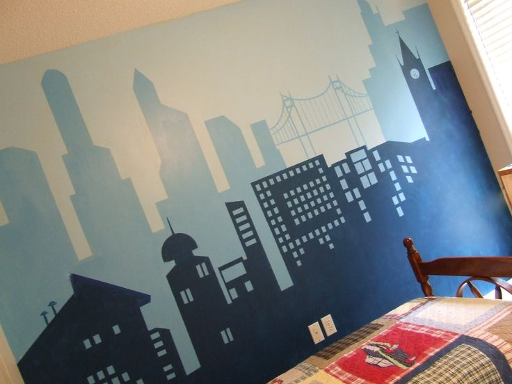I got the idea from Pottery Barn Kids magazine (Batman room).  A city wall mural for my 6 yr old.