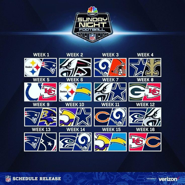NFL SUNDAY NIGHT FOOTBALL SCHEDULE 2019 SEE IF YOUR TEAM