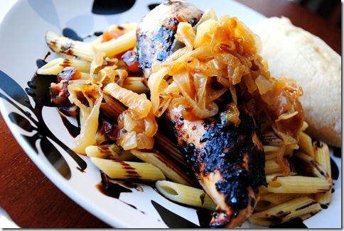 Grilled Chicken Bruschetta with Caramelized Onions & Balsamic Drizzle ...