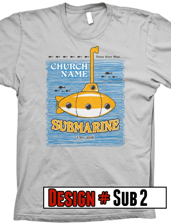 Submerged VBS t-shirts.  We offer FREE shipping on all VBS orders.  All shirts are designed to be customized for your VBS program- choose shirt color, design colors, church name, tag line and/or verse.
