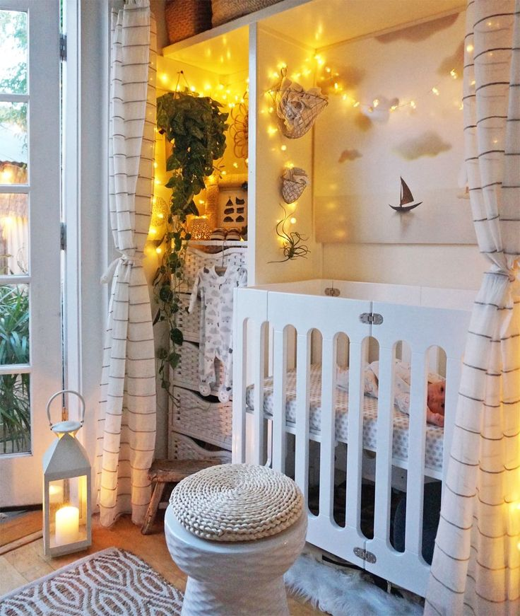 """This Tiny Home's Tinier Nursery Is The Cutest Thing EVER #refinery29  http://www.refinery29.com/whitney-leigh-morris-tiny-nursery-venice-beach#slide-3  And this is the """"after."""" The first piece of furniture the couple picked was the crib, Whitney writes on her blog. """"We needed a VERY specific size, and this Alm..."""