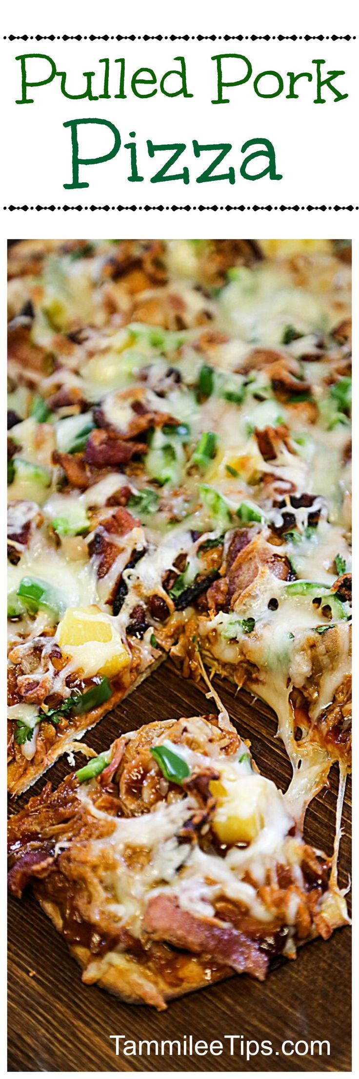 Delicious BBQ Pulled Pork Pizza is so easy to make! Perfect for Super Bowl Football Parties! This barbecue pulled pork recipe makes great dinners, leftover lunch if you have any,  and late night snacks!
