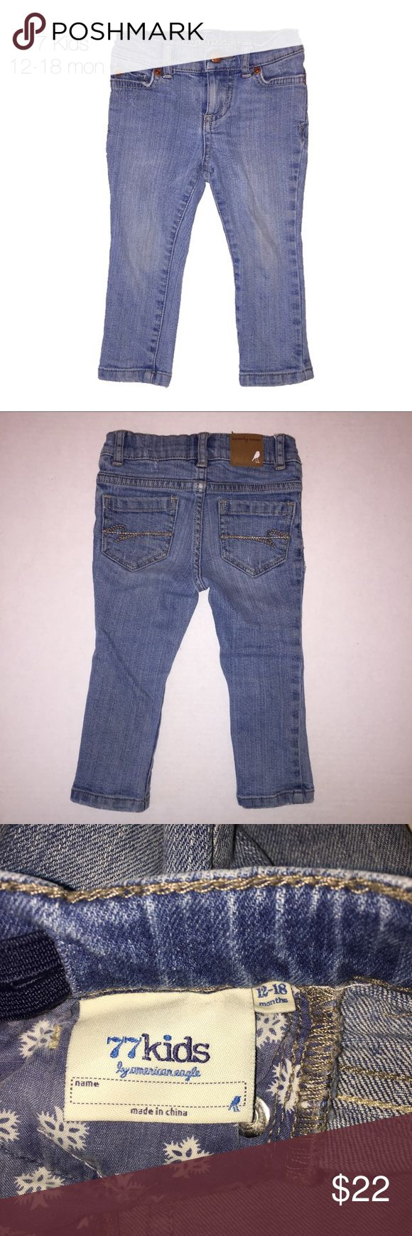 77 Kids American Eagle Skinny Jeans 12-18 mon Gently worn 77 Kids American Eagle Medium Wash Skinny Jeans 12-18 mon adjustable waist. These were our absolute favorite and held up amazing! Super comfy and adorable 77kids Bottoms Jeans