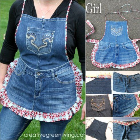 Brilliant Recycling Project! Turn Old Jeans into this Quirky Farm Girl Apron #helpforwomen
