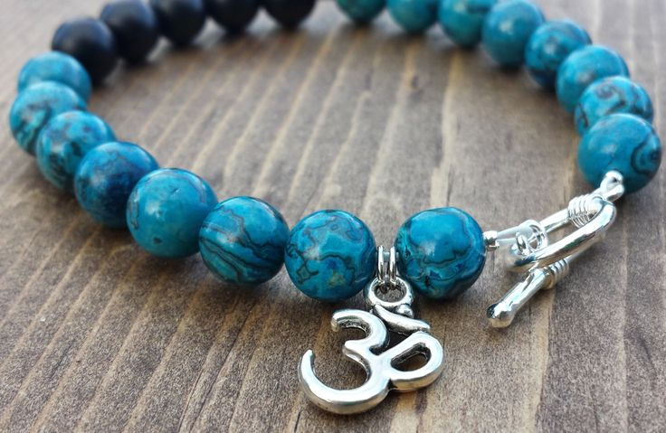 Blue Crazy Lace Agate and Black Onyx with an Om Charm by NidraBeads on Etsy