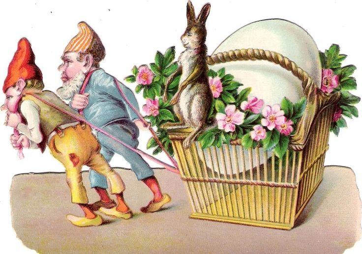 Oblaten Glanzbild scrap die cut chromo Ostern easter Oster Hase 13cm Zwerg gnome