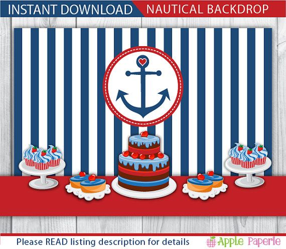 nautical backdrop / birthday backdrop / baby shower backdrop / baby shower back drop / 1st birthday backdrop / nautical background / INSTANT by ApplePaperie