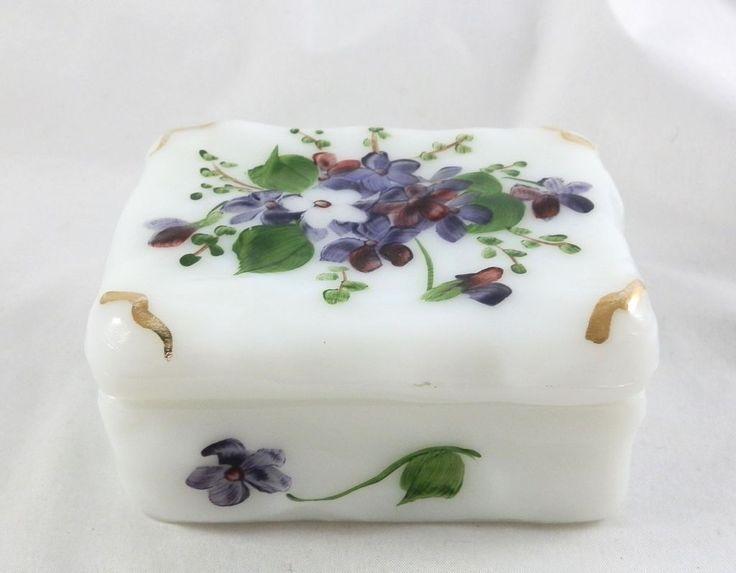 Phoenix or Consolidated Milk Glass Violet Pansy Dresser Trinket Box