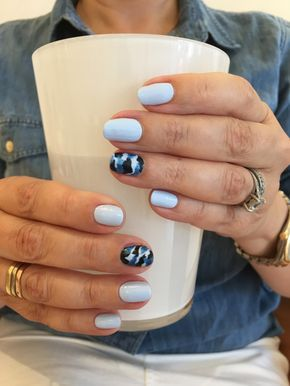 Blue Camo Nail Art