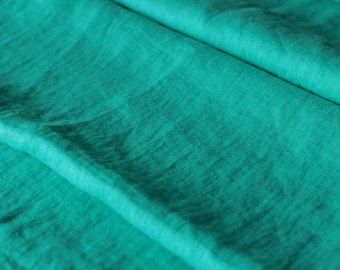Mint linen fabric - Turquoise linen fabric - Stone washed linen fabric- 100% Linen fabric, Linen Fabric by the yard, Wholesale Linen Fabric