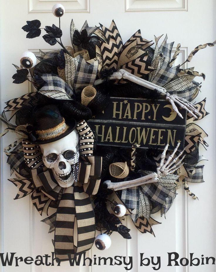 Primitive Halloween Skeleton Black & Tan Deco Mesh Wreath, Skeleton Decor, Fall…