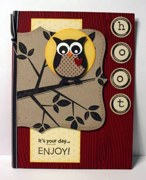 Stampin Up owl punch card with seasons of friendship tree