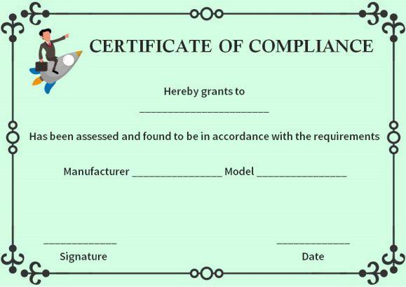 Reach Certificate Of Compliance Template Certificate Of Compliance