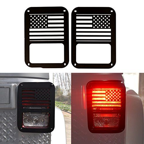 IParts American US Flag Black Taillight Light Guard Cover for 2007 2008 2009 2010 2011 2012 2013 2014 2015 2016 2017 Jeep Wrangler Accessories JK Unlimited Pair  Full Polished Aluminum construction that help stability and strength when mounted, High quality powder coat that resists rust and dirt  Fitment: 2007 - 2017 Jeep Wrangler JK 2 Door & Unlimited 4 Door ( Sports, Sahara, Freedom & Rubicon )  Light Guard is easy to install with no drilling required. Made of polished stainless stee...