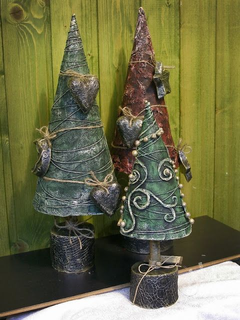 Paper mache tabletop Christmas trees