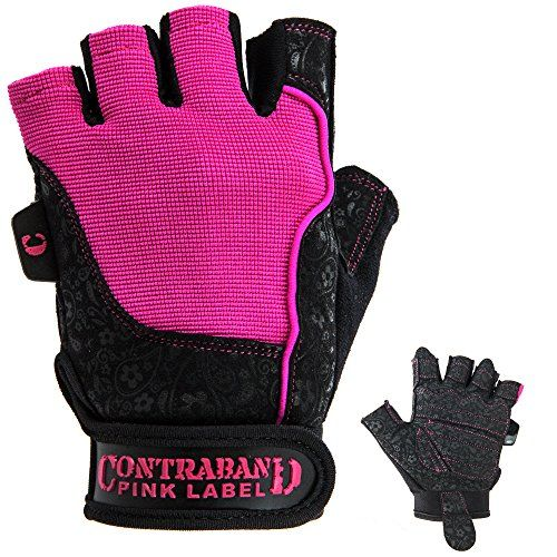 Contraband Pink Label 5127 Womens Weight Lifting Gloves w ComfortSoft Interior Padding PAIR BlackPink Large *** More info could be found at the image url.