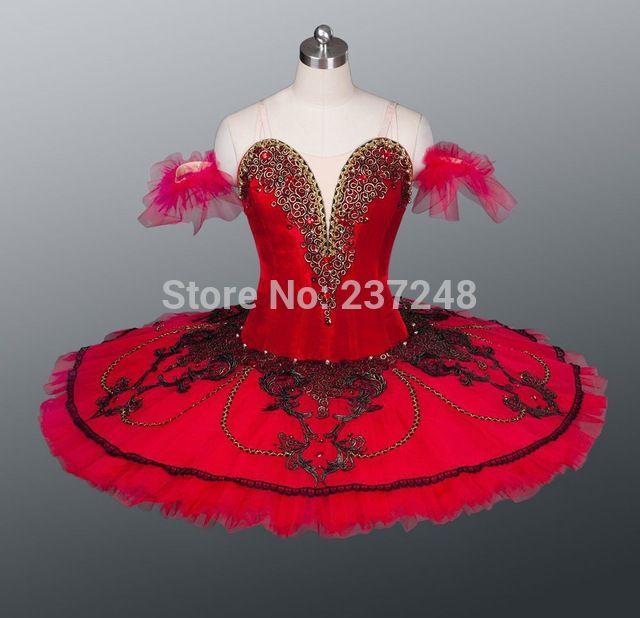 2014 Nueva Llegada! rojo Del Tutú de Ballet, de alta de terciopelo elástico tutú de ballet clásico, tutú de ballet profesional, niño tutú de ballet